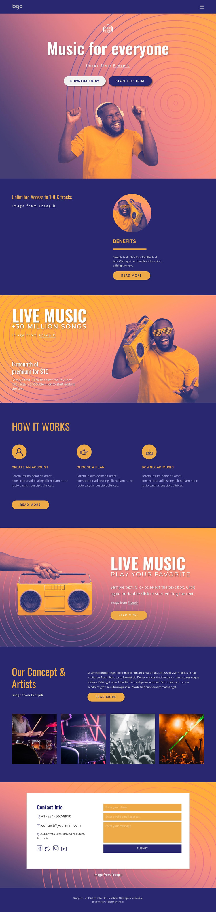 Music for everyone HTML Template