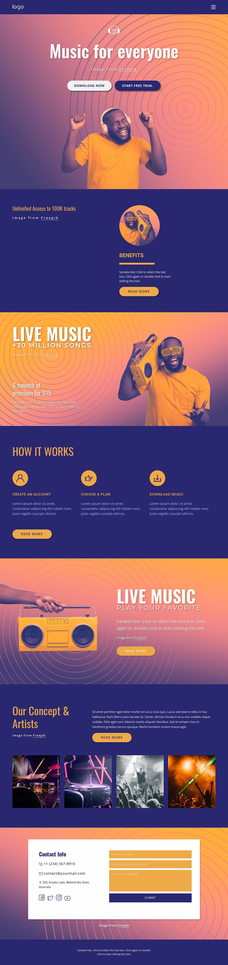 Music for everyone Website Template