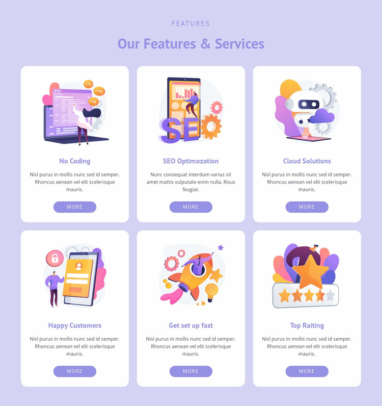 Six areas of work Website Template