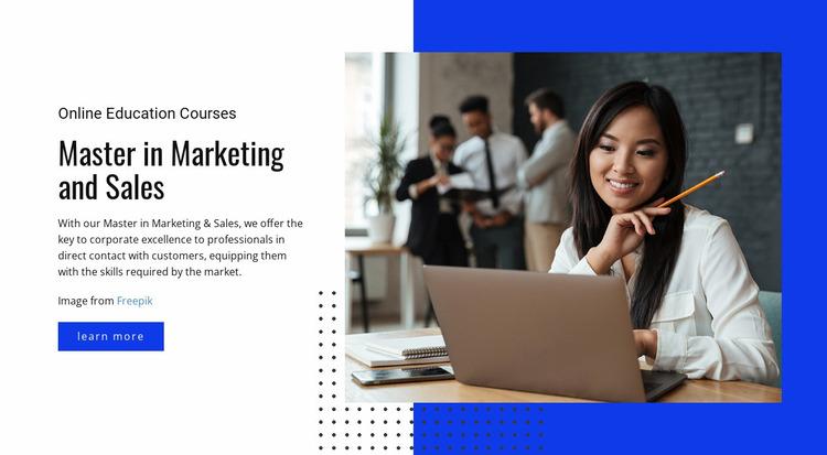 Master in Marketing Courses Website Mockup