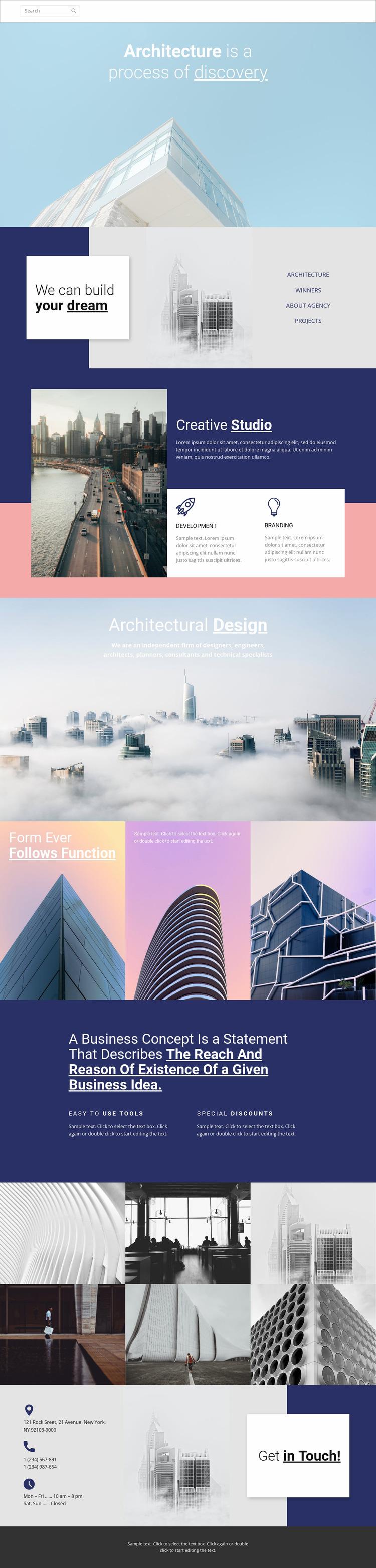 Wonders of architecture Website Mockup