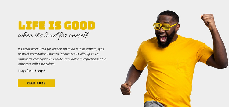 Life is Good One Page Template