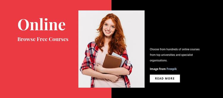 Free Online Courses Website Mockup
