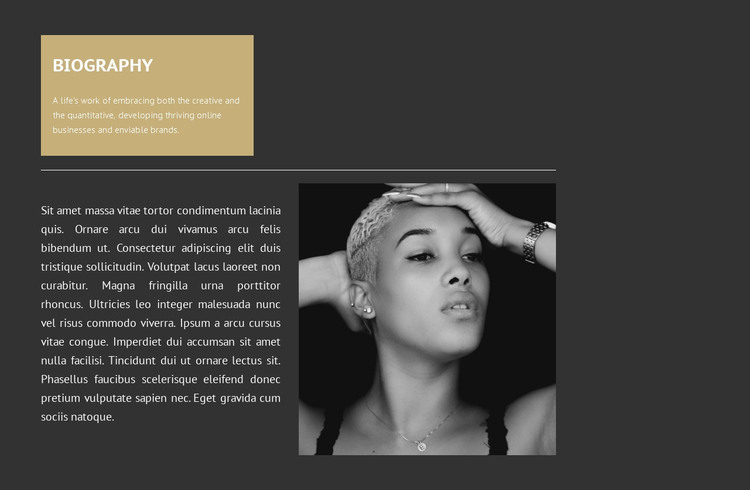 Biography of the Italian model HTML Template