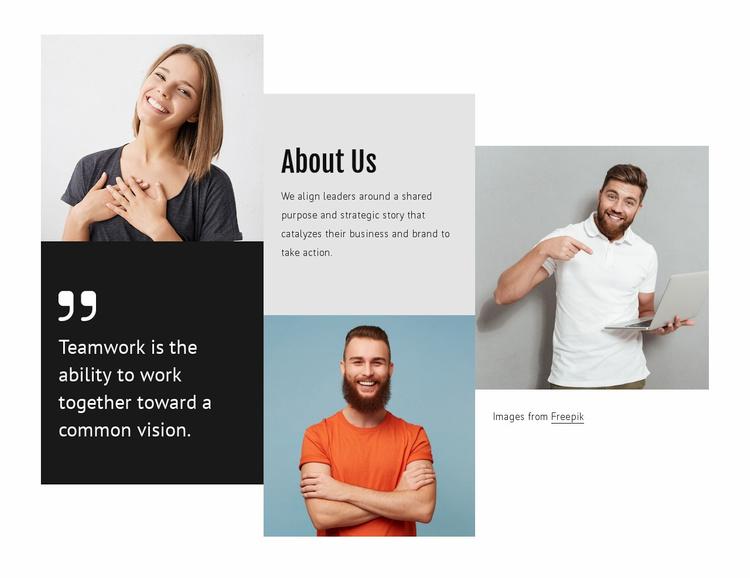 Benefits of  teamwork Website Template