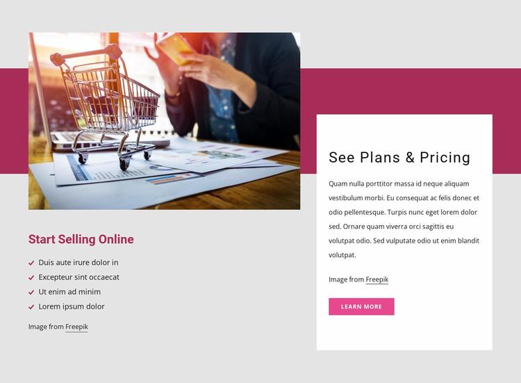 Start selling online Website Template