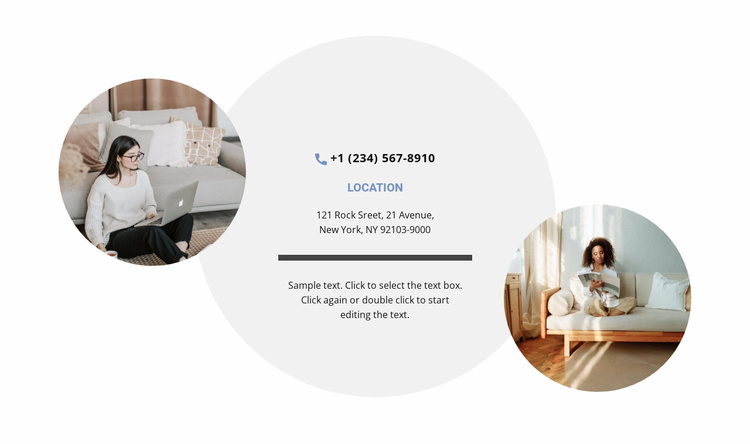 Contacts and two photos Website Template