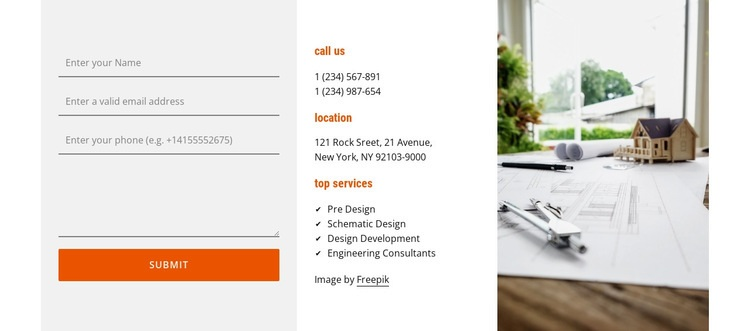 Support for architects Web Page Design
