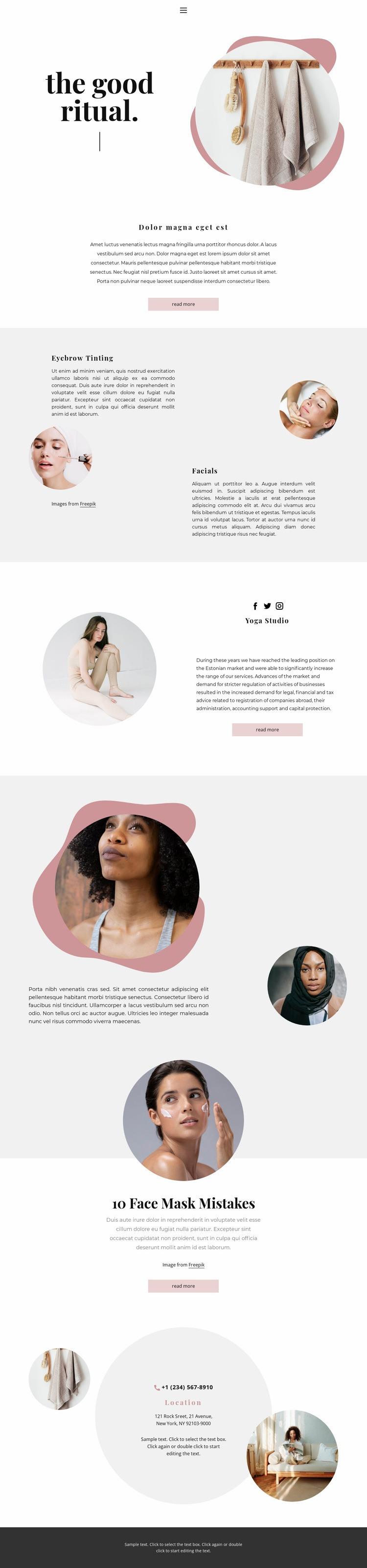 Spa rituals at home Web Page Design