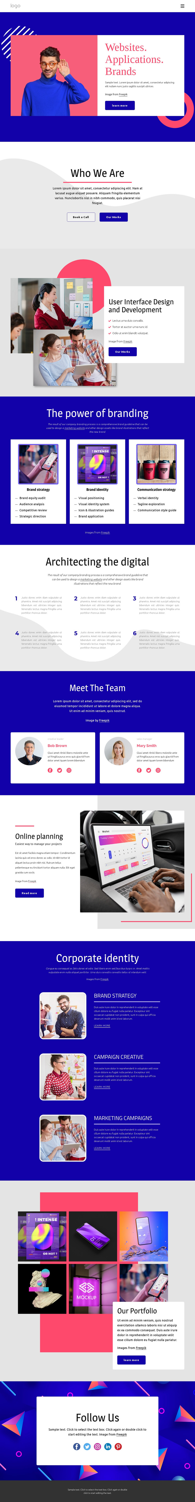 Websites and applications HTML Template