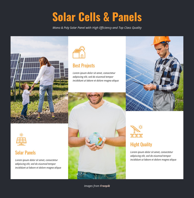 Solar Cells & Panels One Page Template