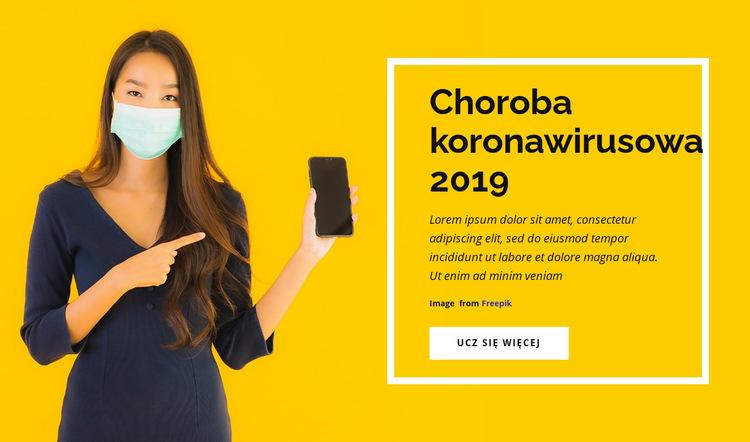 Choroba koronawirusa Szablon witryny sieci Web