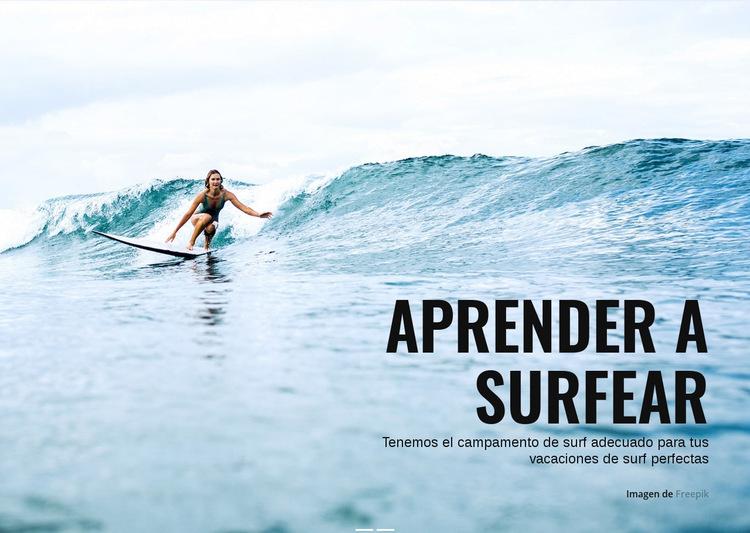 Aprende a surfear en Australia Plantilla de sitio web