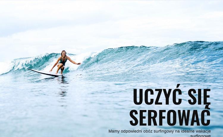 Naucz się surfować w Australii Szablon witryny sieci Web