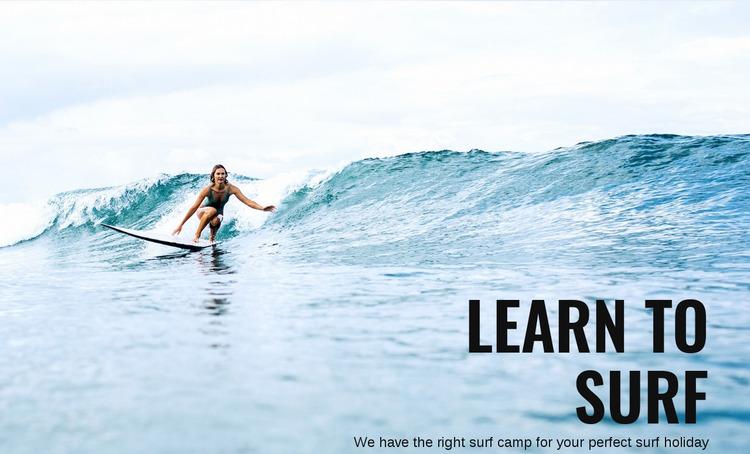 Learn to Surf in Australia Website Mockup