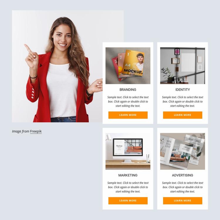 Branding, marketing, web design Website Template