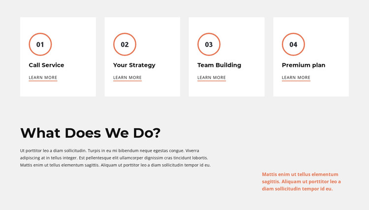Our actions HTML Template
