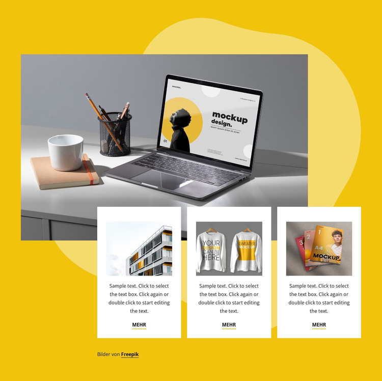Design und Qualitätsdruck Website-Vorlage