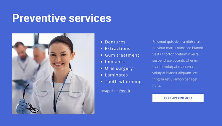 Preventive services Website Template