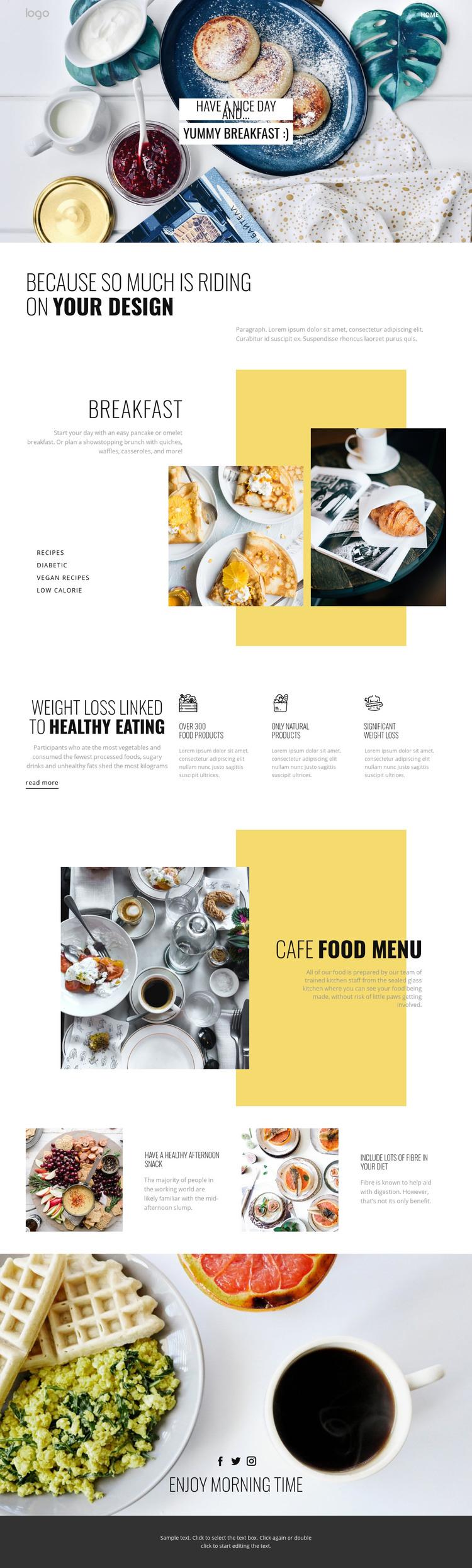 Healthy way of eating food Homepage Design