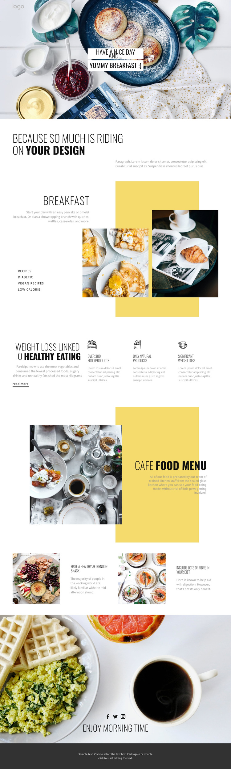 Healthy way of eating food One Page Template