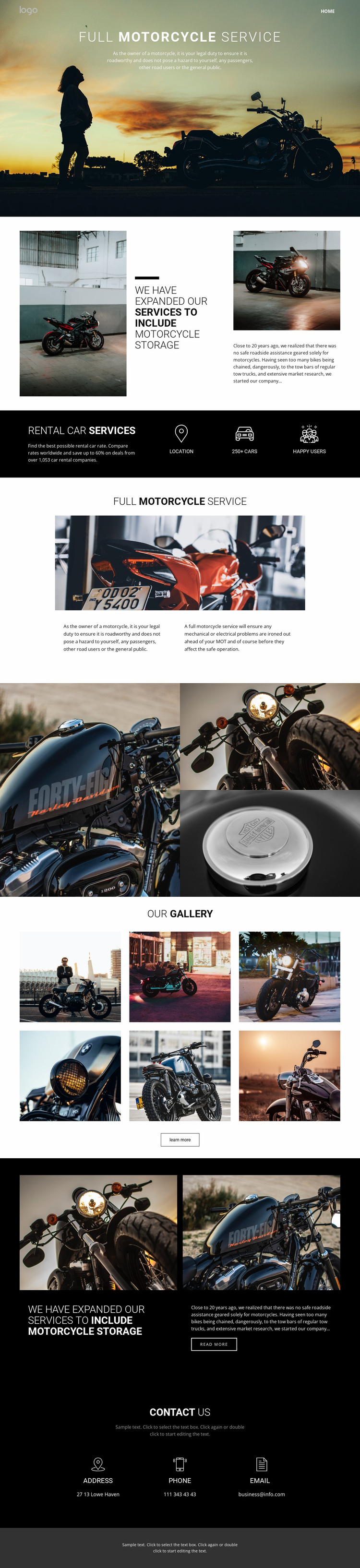 Caring for cycles and cars Landing Page