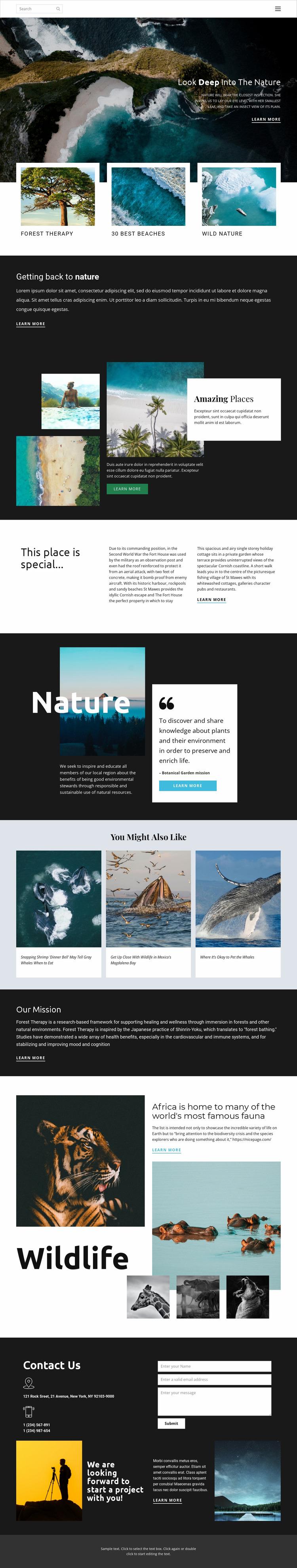 Exploring wildlife and nature Website Mockup
