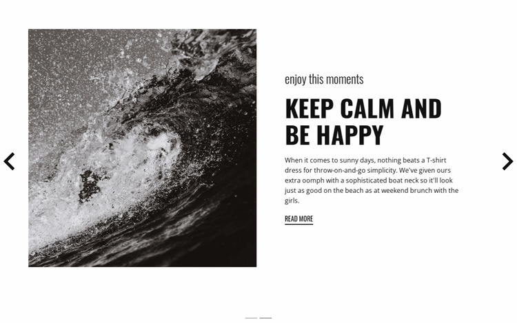 Keep calm and conquer the waves Website Template