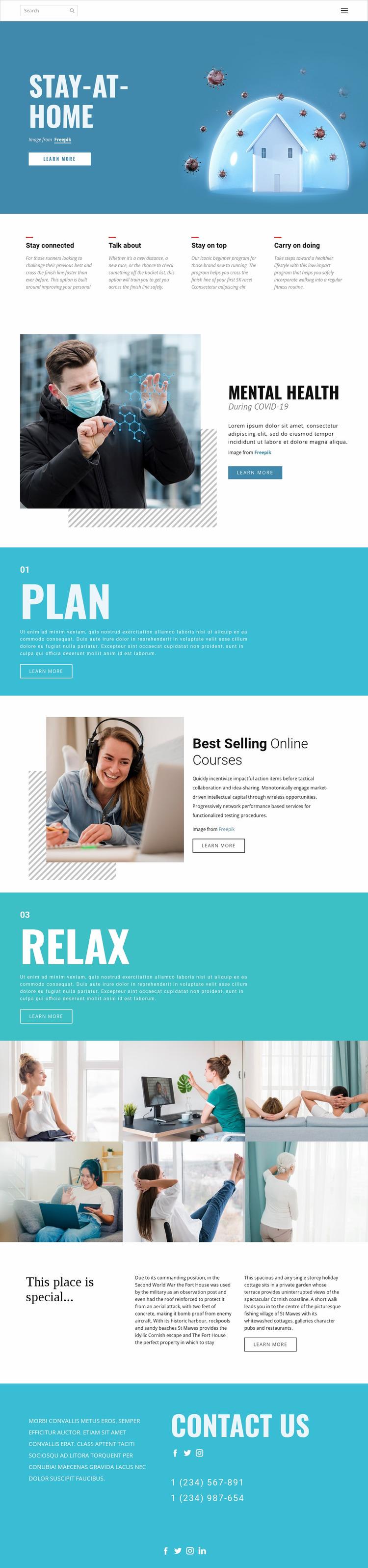 Stay-at-home medicine Website Mockup