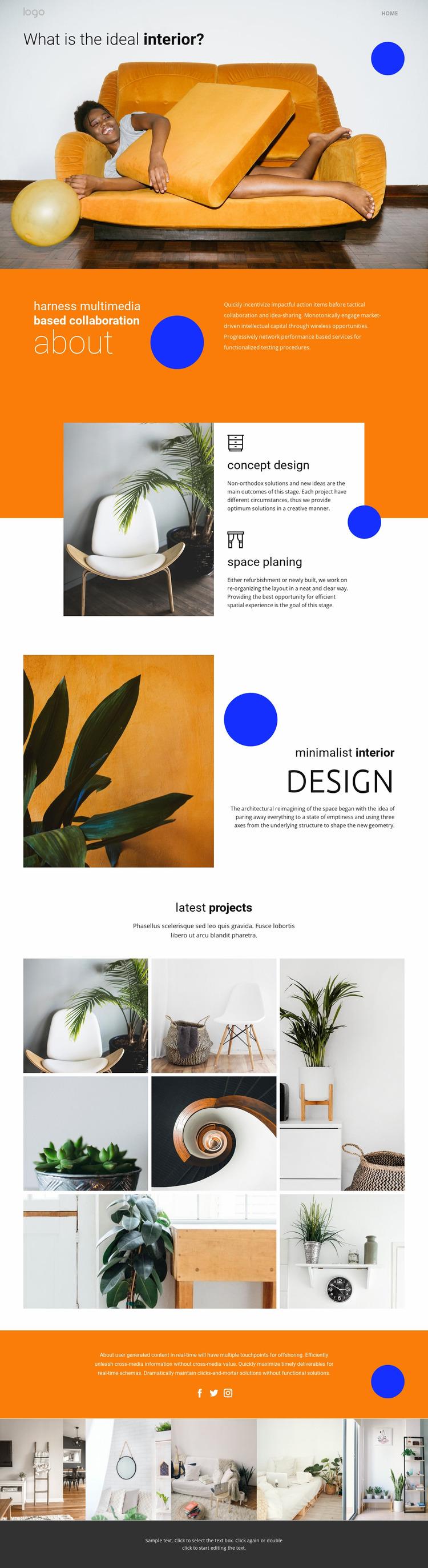 Multimedia based interior  WordPress Website Builder