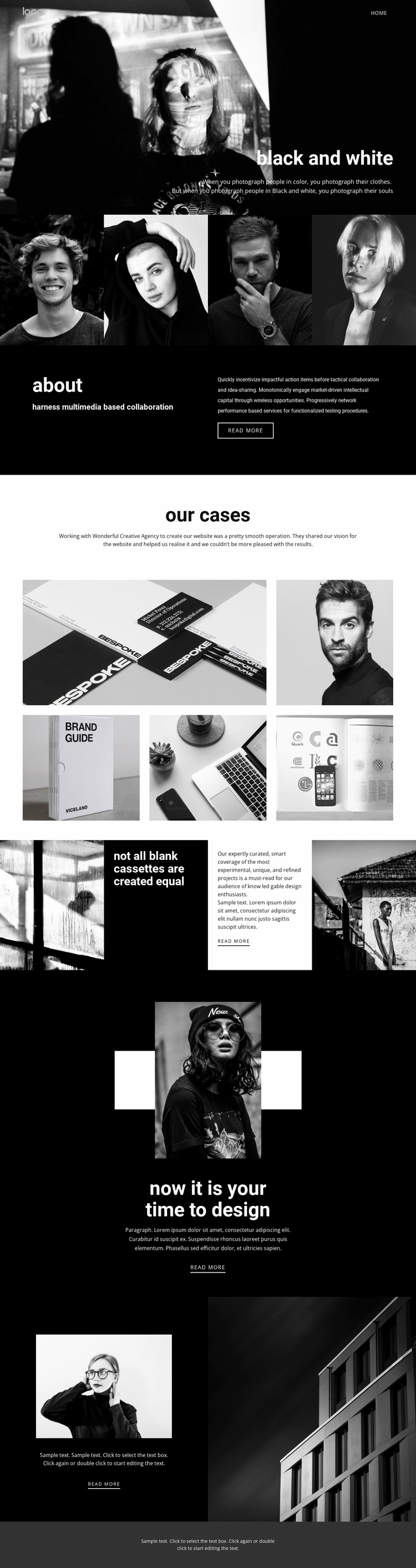 Black and white colors of art Website Mockup
