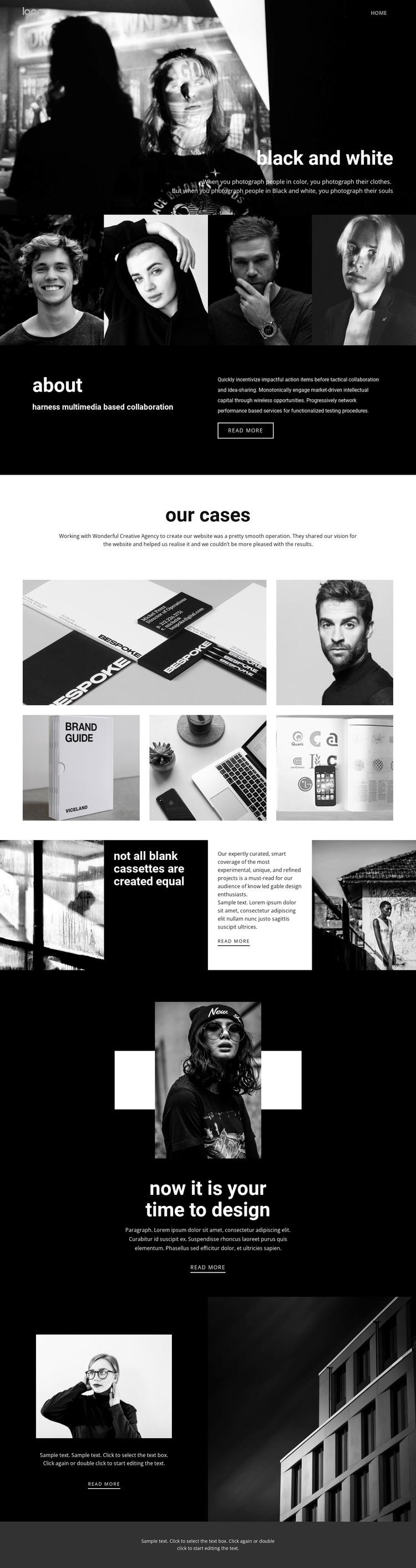 Black and white colors of art WordPress Theme