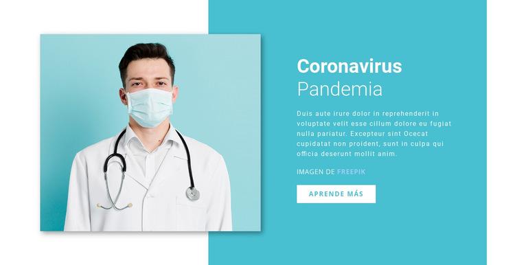 Actualización del coronavirus Plantilla de sitio web