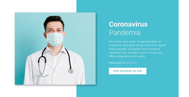 Aggiornamento sul coronavirus Modello di sito Web