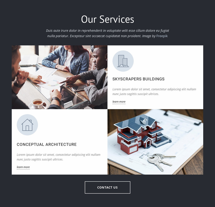 Architects design group services Website Mockup