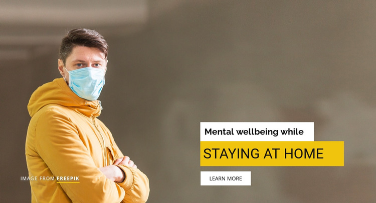 Mental wellbeing while staying at home HTML Template