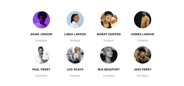 Team of eight HTML Template