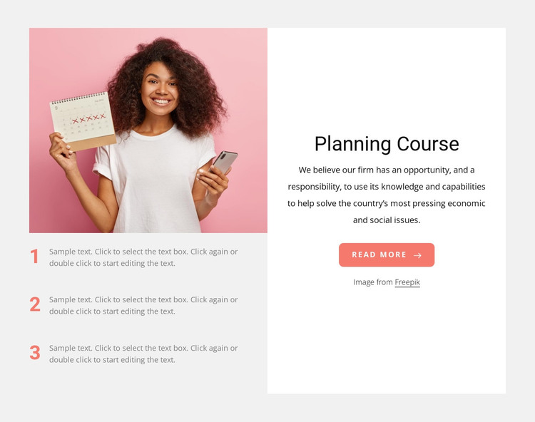 Planning course HTML Template