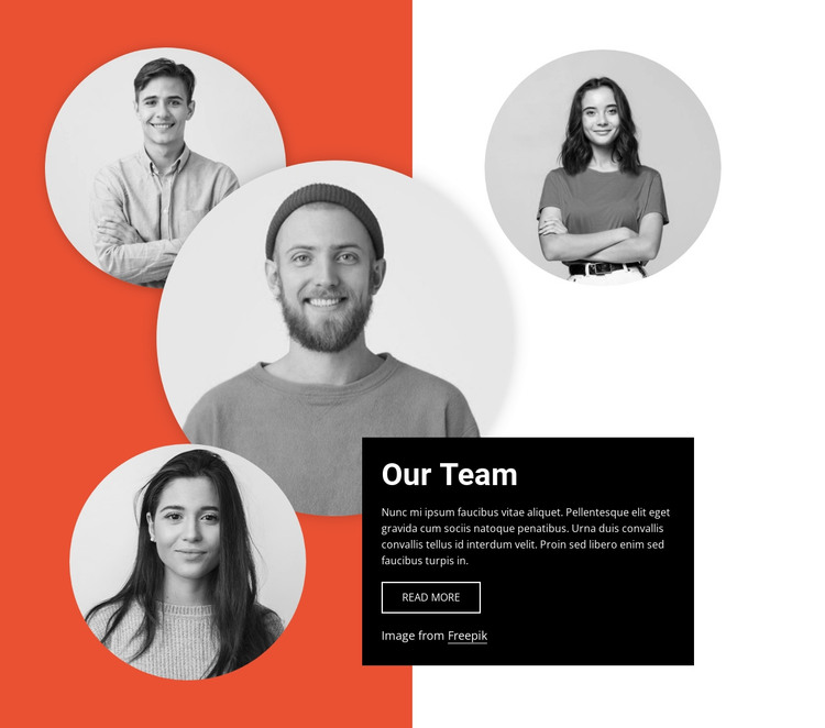Team block with layered images HTML Template
