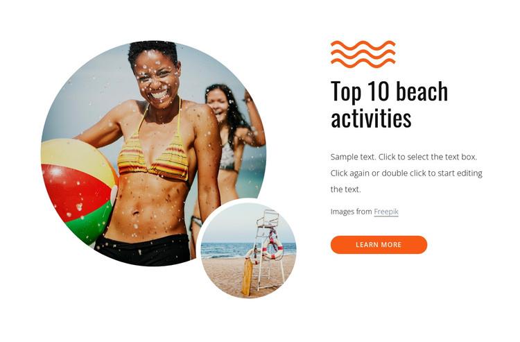 Top beach activities HTML Template
