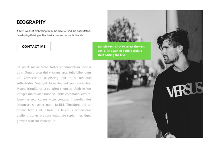 Biography of the writer HTML Template