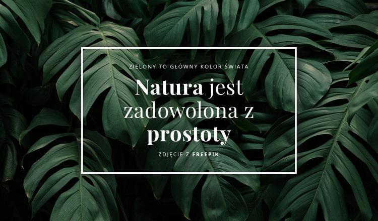 Natura jest zadowolona z prostoty Szablon witryny sieci Web