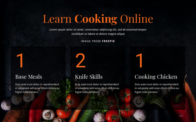 Cooking online courses Web Page Design