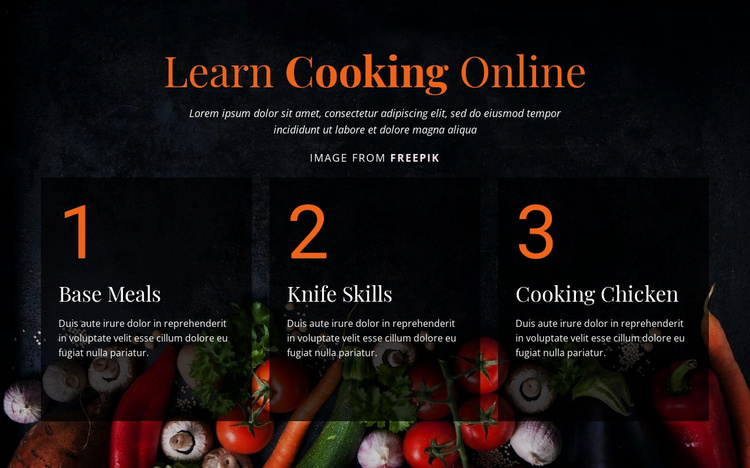 Learn Cooking Online Landing Page