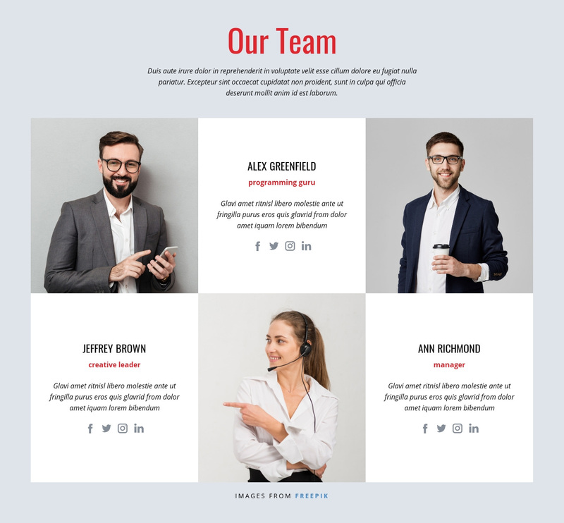 Successful design team Web Page Design