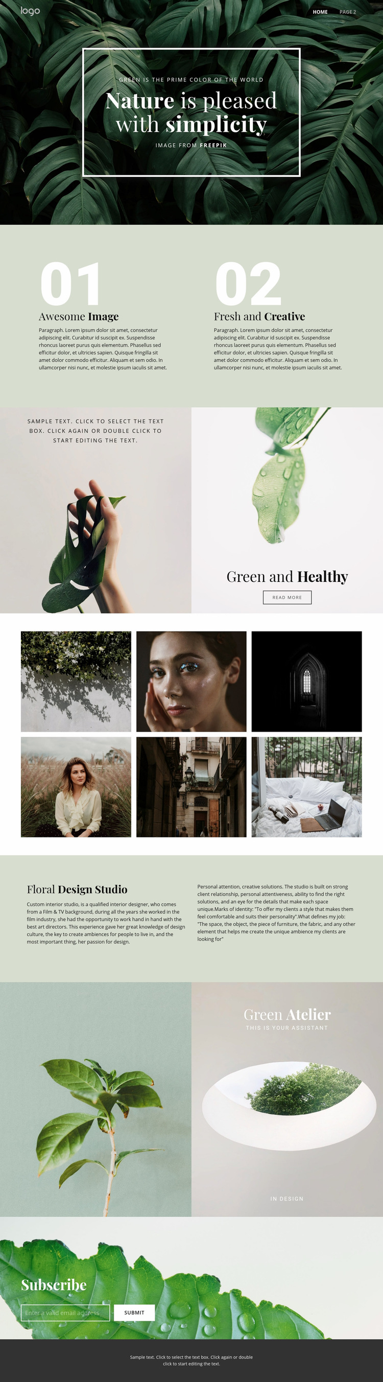 Beauty simplicity of nature Web Page Design