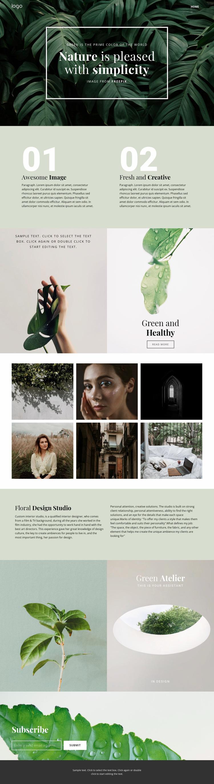 Beauty simplicity of nature Website Mockup