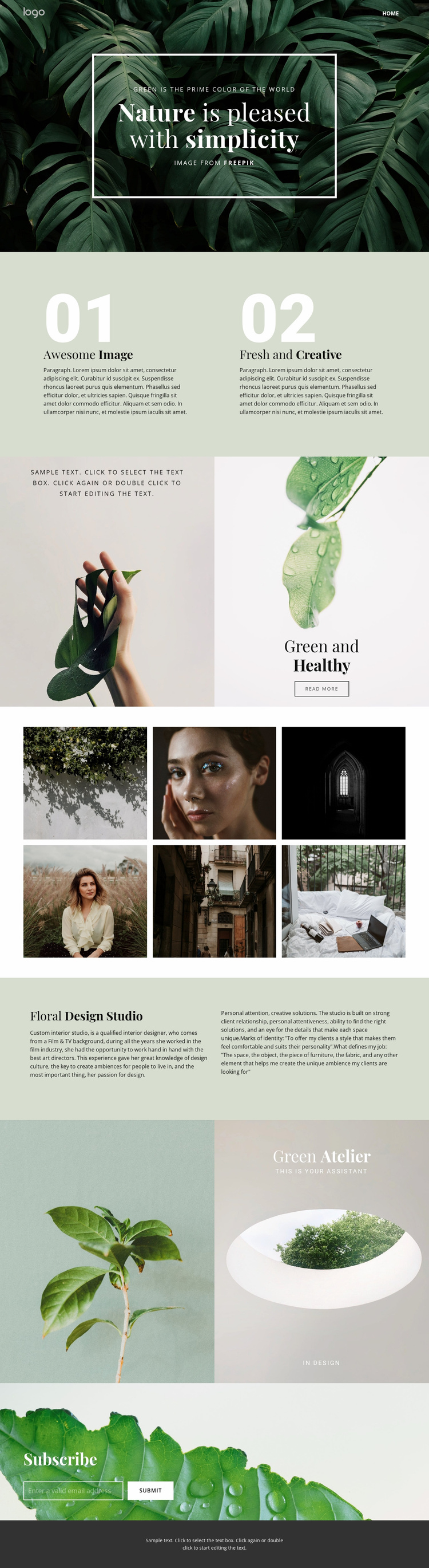 Beauty simplicity of nature Landing Page