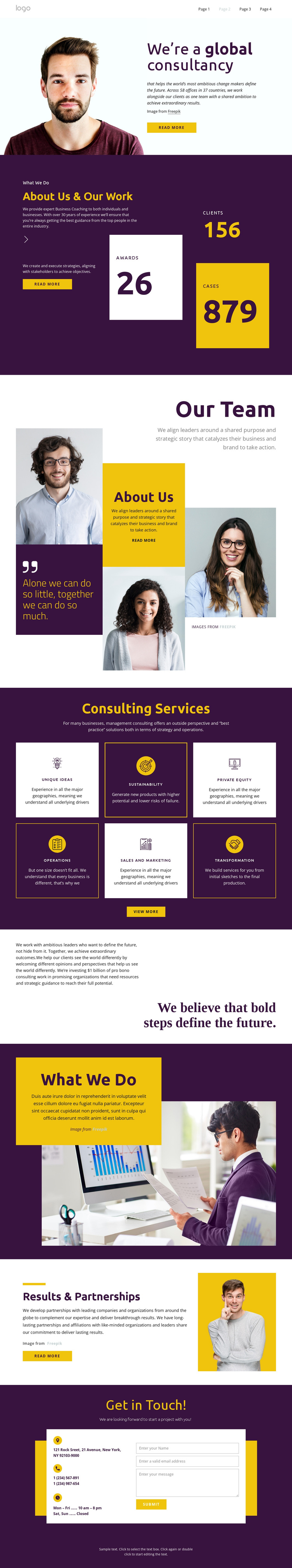 Consultants for big business One Page Template