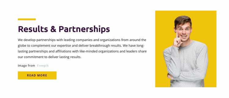 Results & Partnership Website Mockup